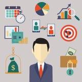 Flache Geschäfts- und Finanzkonzepte Lizenzfreies Stockbild