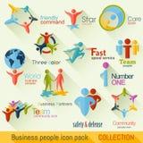 Flache Geschäftsleute Logo Collection Template für Geschäftsgestaltungsarbeiten Lizenzfreie Stockfotos