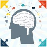 Flache Geschäftsmann-Brain Headmind Social Network Media-Ikone Infographics-Vektorillustration Stockfoto