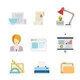 Flache Geschäftsschnittstellennetz-APP-Ikone: Dokumentenunterstützung Lizenzfreie Stockfotos