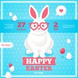 Flache glückliche Ostern-Fahne mit Kaninchen Stockfoto