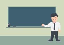 Flache Grafik des männlichen Lehrers und der Tafel stockfotos