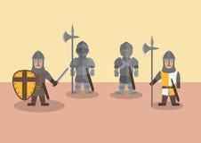 Flache Grafik des mittelalterlichen Soldaten lizenzfreies stockbild