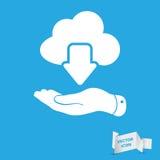 Flache Hand, die Datenverarbeitungsdownloadikone der weißen Wolke auf einem Blau zeigt Stockfotografie
