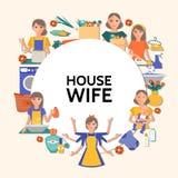 Flache Hausfrau Round Concept Lizenzfreies Stockbild