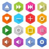 Flache Hexagon-Netzknopf der Medienikone 16 gesetzter Stockfoto