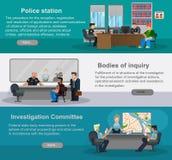 Flache horizontale Fahnen mit Szenen von Vertretern von Polizeibeamten Abteilung von Untersuchungen, Untersuchungsausschuß, depar Stockfoto