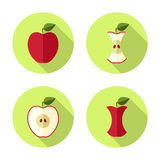 Flache Ikone Apples Lizenzfreies Stockfoto
