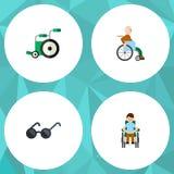 Flache Ikone behinderter Satz Ausrüstung, behinderter Mann, behinderter Person Vector Objects Schließt auch Schauspiele mit ein Lizenzfreies Stockbild
