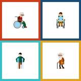 Flache Ikone behinderter Satz Behinderter, verletzt, Rollstuhl und andere Vektor-Gegenstände Schließt auch Rollstuhl mit ein Lizenzfreie Stockbilder