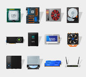 Flache Ikone der Computerhardware Lizenzfreie Stockfotografie