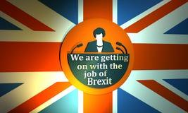 Flache Ikone der Frau mit Theresa May-Zitat Stockfotos