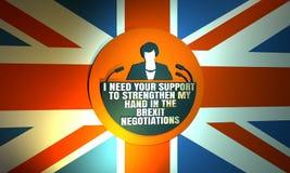 Flache Ikone der Frau mit Theresa May-Zitat Stockfoto