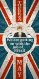 Flache Ikone der Frau mit Theresa May-Zitat Lizenzfreie Stockfotos