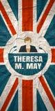 Flache Ikone der Frau mit Theresa May-Zitat Stockbild