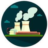 Flache Ikone der Gebäudefabrik mit langem Schatten Stockfoto