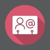 Flache Ikone der Geschäftsbeziehung Runder bunter Knopf, Kreisvektorzeichen mit langem Schatteneffekt stock abbildung
