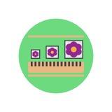 Flache Ikone der justierbaren Bildgröße Runder bunter Knopf, Kreisvektorzeichen, Logoillustration Lizenzfreies Stockbild