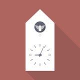 Flache Ikone der Kuckucksuhr Stockbilder