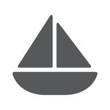 Flache Ikone der Segeljacht Stockbild