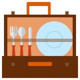 Flache Ikone der tragbaren Picknicktaschen-Fessel stock abbildung
