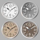 Flache Ikone der Uhr Stoppuhr als Erdkugel auf einem weißen Hintergrund Stockfoto