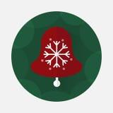 Flache Ikone der Weihnachtsglocke mit langem Schatten Stockfotografie
