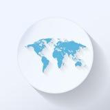 Flache Ikone der Weltkarte Lizenzfreies Stockbild