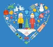 Flache Ikone der Winterkindertätigkeit in der Herzform Liebeswinterkonzept-Fahnenschablone Trägt Erholungspiktogramm zur Schau Stockfoto