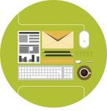 Flache Ikone des Büros Stockfoto