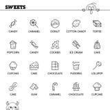 Flache Ikone des Bonbonlebensmittels eingestellt für Webdesign Stockfotografie