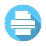 Flache Ikone des Druckers Runder bunter Knopf Stockfotografie