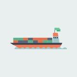 Flache Ikone des Frachtschiffs lokalisiert auf Weiß Lizenzfreies Stockfoto