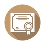 Flache Ikone des Geschäftszertifikats Stockfoto