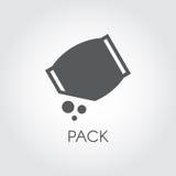 Flache Ikone des Lebensmittelgeschäftsatzes mit abstraktem Massenbestandteil Kulinarisches Konzept Schwarzes Logo des Vektors Stockfotos
