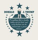 Flache Ikone des Mannes mit Donald Trump-Zitat Lizenzfreie Stockfotos