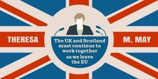 Flache Ikone des Mannes mit Theresa May-Zitat Stockfoto