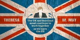 Flache Ikone des Mannes mit Theresa May-Zitat Stockfotos