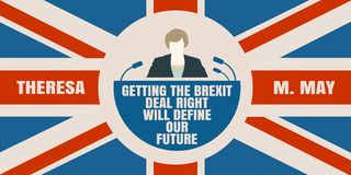Flache Ikone des Mannes mit Theresa May-Zitat Lizenzfreies Stockfoto