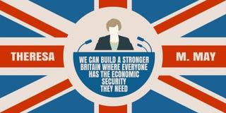 Flache Ikone des Mannes mit Theresa May-Zitat Stockbilder