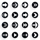 Flache Ikone des Pfeilzeichens mit langem Schatten vektor abbildung