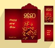 Flache Ikone des roten Umschlags des Chinesischen Neujahrsfests, Jahr der Ratte 2020 stockfoto