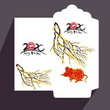 Flache Ikone des roten Umschlags des Chinesischen Neujahrsfests, Jahr der Ratte 2020 lizenzfreie stockfotografie