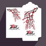 Flache Ikone des roten Umschlags des Chinesischen Neujahrsfests, Jahr der Ratte 2020 stockbilder