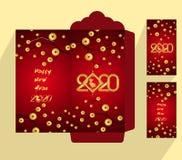 Flache Ikone des roten Umschlags des Chinesischen Neujahrsfests, Jahr der Ratte 2020 stockfotos