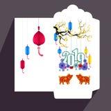 Flache Ikone des roten Umschlags des Chinesischen Neujahrsfests, Jahr des Schweins 2019 stockbild