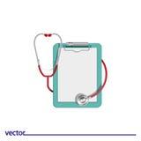 Flache Ikone des Stethoskops Stockfoto