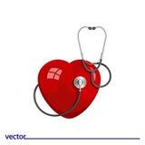 Flache Ikone des Stethoskops und des Herzens Lizenzfreie Stockbilder