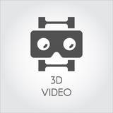 flache Ikone des Videodesigns 3D Konzept von hochauflösendem, lcd, intelligente Technologie Schwarzes Einfachheitsvektorpiktogram Lizenzfreie Stockfotografie