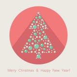 Flache Ikone des Weihnachtsbaums Lizenzfreies Stockbild